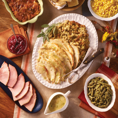 The Homestyle Turkey n' Dressing Family Meal To-Go for $67.99 serves up to six people and comes hot, packed and ready to be served upon pick up. It features a Turkey n' Dressing meal complete with a sampling of sugar cured ham, turkey gravy, a choice of three quart-sized country sides, cranberry relish, and a choice of biscuits, corn muffins or a loaf of sourdough bread.