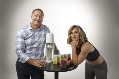 Jillian Michaels and Daniel Birnbaum at SodaStream's Infomercial Shoot.