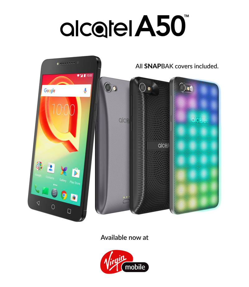 Alcatel's value packed A50 smartphone + SNAPBAK cover bundle is coming to Virgin Mobile starting today (CNW Group/TCL Communication)