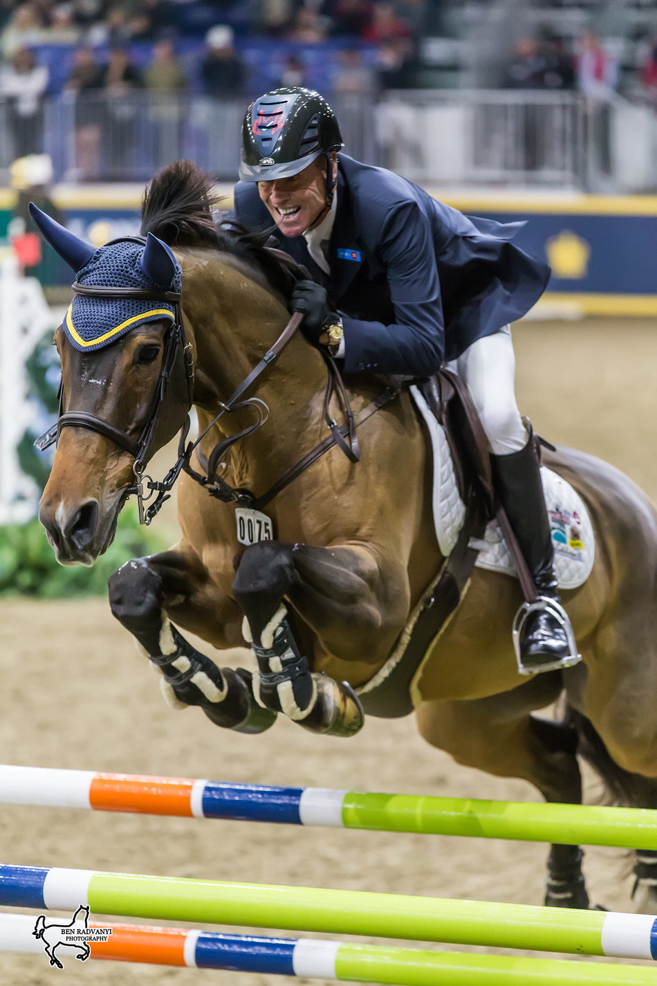 Ian Millar of Perth, ON, riding Dixson is aiming for a record 13th Canadian Show Jumping Championship title after winning the opening round of competition on Friday, November 3, at the Royal Horse Show in Toronto, ON. Photo by Ben Radvanyi Photography (CNW Group/Royal Agricultural Winter Fair)