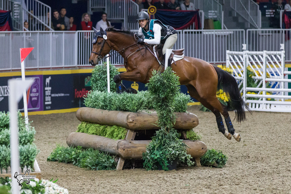 Toronto's Brandon McMechan was the runner-up in the $20,000 Horseware Indoor Eventing Challenge riding Oscar's Wild. Photo by Ben Radvanyi Photography (CNW Group/Royal Agricultural Winter Fair)