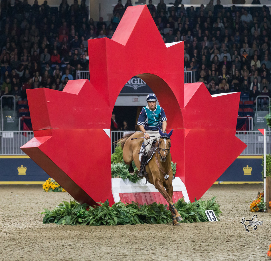 U.S. Olympian Body Martin piloted Kyra to a third place finish in his $20,000 Horseware Indoor Eventing Challenge debut. Photo by Ben Radvanyi Photography (CNW Group/Royal Agricultural Winter Fair)
