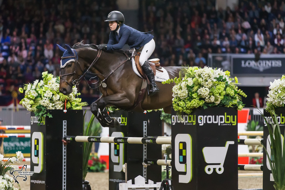 Ali Ramsay of Victoria, BC, was third in the 2017 Canadian Show Jumping Championship riding Hermelien VD Hooghoeve on Saturday, November 4, at the Royal Horse Show in Toronto, ON. Photo by Ben Radvanyi Photography (CNW Group/Royal Agricultural Winter Fair)