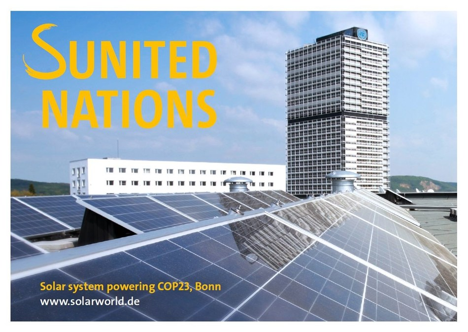 Under the slogan SUNITED NATIONS, SolarWorld is presenting the importance of solar power in the global energy supply on postcards distributed around the city of Bonn. (PRNewsfoto/SolarWorld Industries)