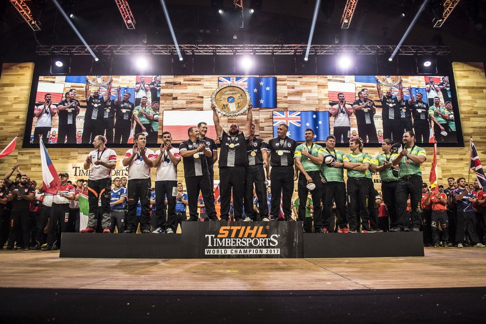 New Zealanders won the STIHL TIMBERSPORTS Team World Championship 2017. The team from Poland caused a major upset and finished second. The favourites from Australia only came in third. (PRNewsfoto/STIHL TIMBERSPORTS Series)