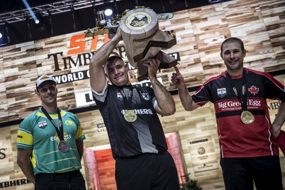 Jason Wynyard from New Zealand wins the STIHL TIMBERSPORTS World Championship 2017. Brad De Losa from Australia comes in second, Canada's Mitch Hewitt finishes third. (PRNewsfoto/STIHL TIMBERSPORTS Series)