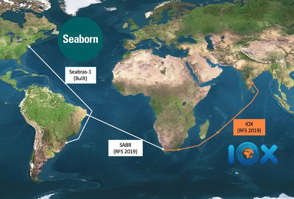 Strategic Alliance of Seaborn's Seabras-1 + SABR + IOX to connect three BRICS countries and Mauritius to the U.S.