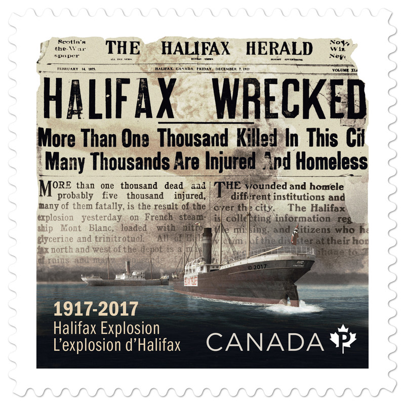 The stamp commemorating the devastating explosion that rocked Halifax on the morning of December 6, 1917. (CNW Group/Canada Post)