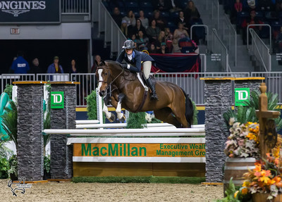 Second place in the $15,000 Braeburn Farms Hunter Derby went to Erynn Ballard of Tottenham, ON, riding Enchanted. Photo by Ben Radvanyi Photography (CNW Group/Royal Agricultural Winter Fair)