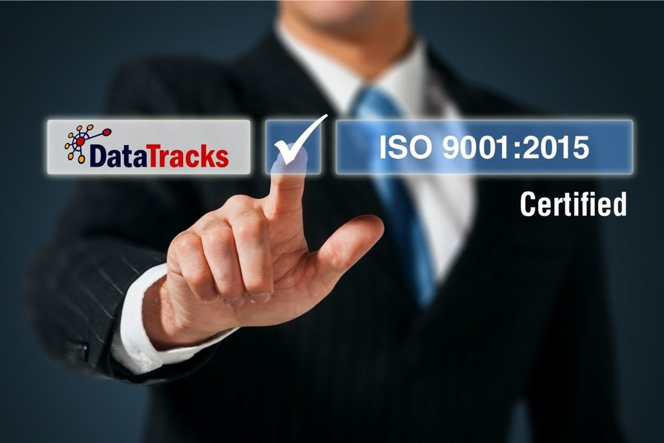 DataTracks Successfully Achieves Transition From ISO 9001:2008 to ISO 9001:2015 Standard for Quality (PRNewsfoto/DataTracks Services Limited)
