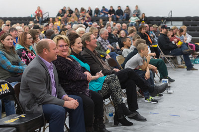 Hundreds of people gather at Kulm Public School on Nov. 3, 2017 to celebrate Xcel Energy and NextEra Energy Resources' $25,000 gift to establish a SmartLab technology center at the school. (PRNewsfoto/NextEra Energy Resources)