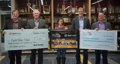 (From left to right) Rep. Mike Brandenburg (Edgeley); Xcel Energy manager of North Dakota Mark Nisbet; Sarah Gackle, Kulm Public School Foundation director Sarah Gackle; NextEra Energy Resources project manager Clay Cameron and Rep. Jeffery Magrum (Hazelton) announce the companies' $25,000 gift to establish a SmartLab technology center at the school on Nov. 3, 2017. (PRNewsfoto/NextEra Energy Resources)