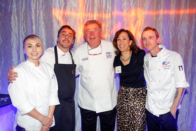 Eosther Fajardo-Anstine of MSU Denver (far left) and Brandon Hart (far right) from the American Culinary Federation Colorado Chefs Association stand with Chef Roca and program representatives after they were selected to intern at El Celler de Can Roca for four months in 2018.