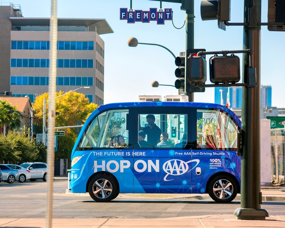 AAA and Keolis launch nation's first public self-driving shuttle in downtown Las Vegas.