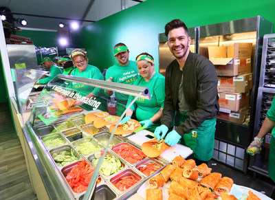 "Multi-platinum singer and songwriter Andy Grammer joined Subway® on World Sandwich Day, Nov. 3, 2017, at the ""Subway Live Feed Headquarters"" in New York City. Together, Andy and Sandwich Artists™ made nearly 5,000 sandwiches for day-of donations to The Bowery Mission. Subway donated more than 13.3 million meals to 20 hunger-relief charities around the world. (Photo/Stuart Ramson)"
