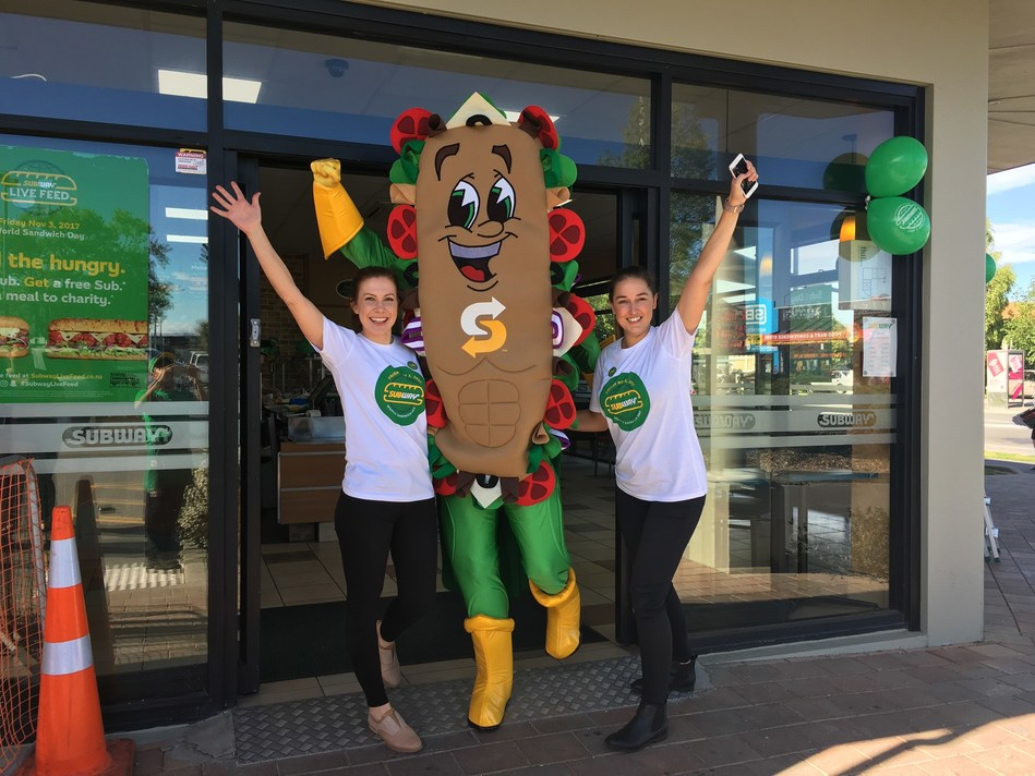 Subway® celebrated its first-ever World Sandwich Day on Nov. 3, 2017 by donating 13.3 million meals to more than 20 hunger-relief charities around the world, including Foodbank, Australia's largest food relief organization. Australian customers were greeted by a special guest as they entered the store.