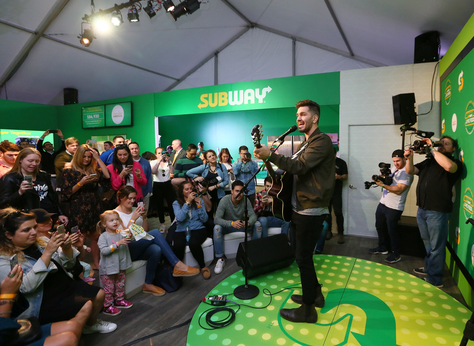 "Multi-platinum singer and songwriter Andy Grammer joined Subway® on World Sandwich Day, Nov. 3, 2017, at the ""Subway Live Feed Headquarters."" Andy treated guests to an exclusive performance to celebrate World Sandwich Day. Subway donated more than 13.3 million meals to 20 hunger-relief charities around the world. (Photo/Stuart Ramson)"
