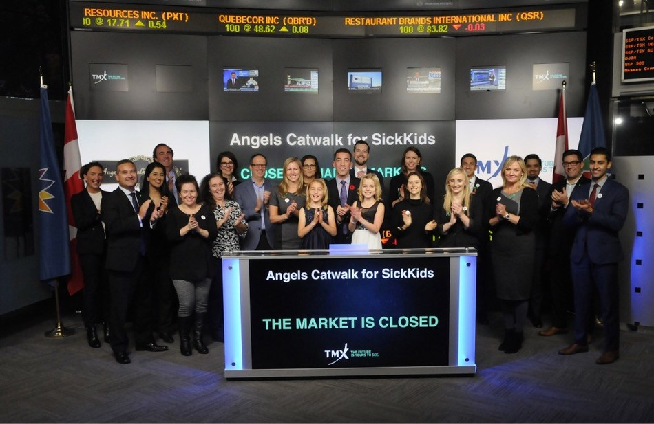 Representatives from Angels Catwalk for SickKids joined Tanya Rowntree, Global Head of Client Success, Equity Capital Markets, TMX Group, to close the market. The 5th annual Angels Catwalk for SickKids takes place on November 16 at Steam Whistle Brewing in Toronto. To date the event has raised over $1,000,000 in support of transplant research, education and innovation at the SickKids Transplant Centre. For more information please visit http://www.angelscatwalk.ca/ (CNW Group/TMX Group Limited)