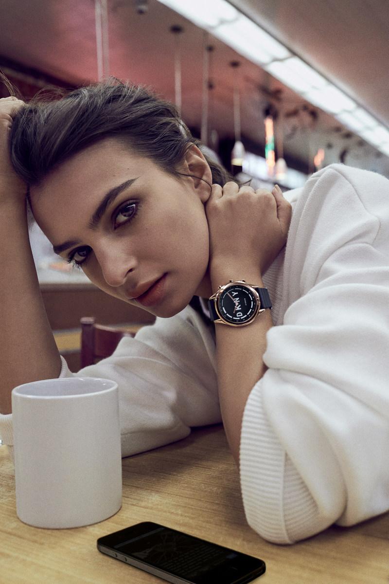Emily Ratajkowski introduces DKNY's first line of hybrid smartwatches, DKNY MINUTE.
