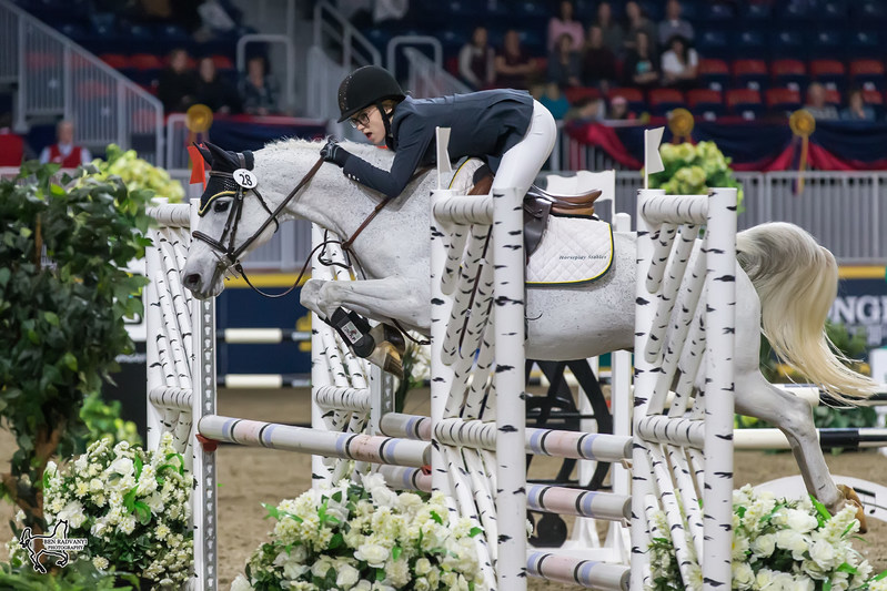 Makayla Clarke of Hilden, NS, riding Twisted tied for the win in the $5,000 MarBill Hill Royal Pony Jumper Final on Sunday, November 5, at the Royal Horse Show in Toronto, ON. Photo by Ben Radvanyi Photography (CNW Group/Royal Agricultural Winter Fair)