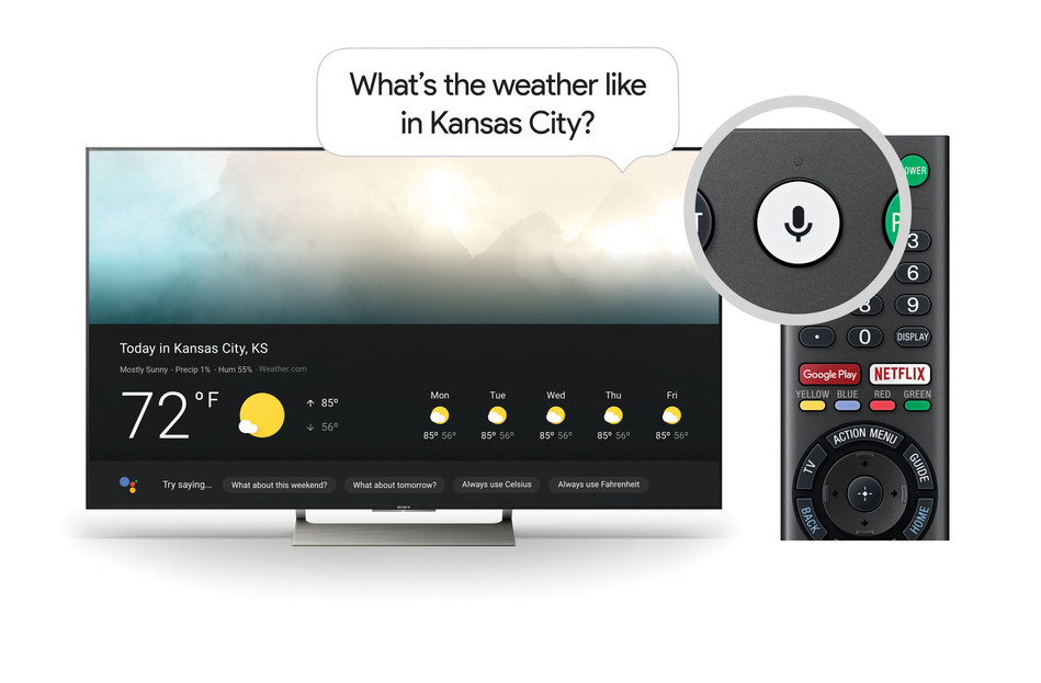 The Google Assistant on Sony TV works just by pushing the microphone button on the remote and using your voice to ask a question or say a command.