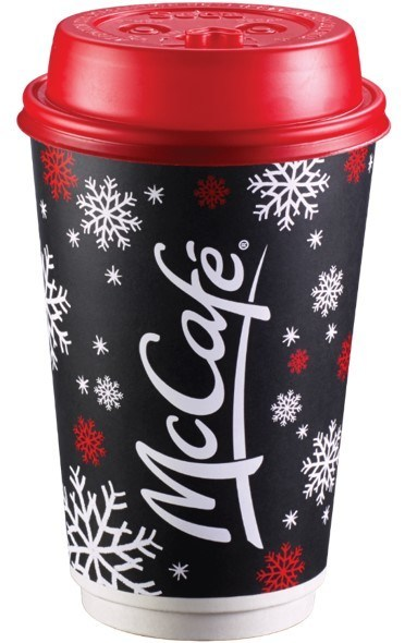 Now available in participating restaurants nationwide, this year's McCafé festive cups are complete with a new red lid adding extra cheer to each and every McCafé hot beverage, and feature the highly popular McCafé Rewards stickers. (CNW Group/McDonald's Canada)