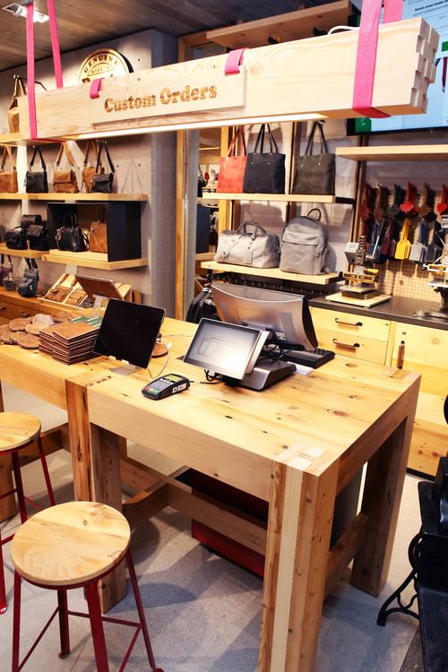 The Customization Workshop at the new Roots location in CF Pacific Centre, Vancouver. (CNW Group/Roots Corp.)