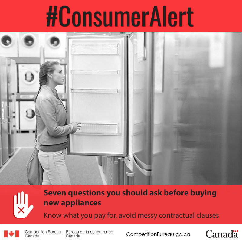 Are you looking for a new fridge, washer, dryer or stove? Know that certain warranties come with an extra surprise: restrictive clauses that may end up costing you more than anticipated. Before buying, know which questions to ask to avoid being caught in a spin cycle. (CNW Group/Competition Bureau)