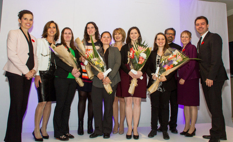 November 6 2017. Awarding ceremony L'Oréal-UNESCO For Women in Science. From left to right: The Honorable Kirsty Duncan, Her Excellency Kareen Rispal, Stéphanie Gamache, Danielle McRae, Marie-Ève Lebel, Mona Nemer, Kelly Suschinsky, Mélanie Guigueno, B. MarioPinto and Frank Kollmar. (CNW Group/L'Oréal Canada Inc.)