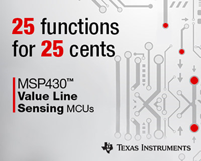 Developers can implement simple sensing functions with TI's lowest-cost microcontroller family