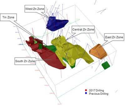 Figure 1 – 3D model of resource wireframes at Ayawilca (CNW Group/Tinka Resources Limited)