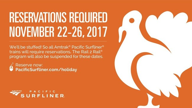 Thanksgiving week is an extremely busy time onboard all Pacific Surfliner trains, so reservations are required from Wednesday, November 22 through Sunday, November 26, 2017.