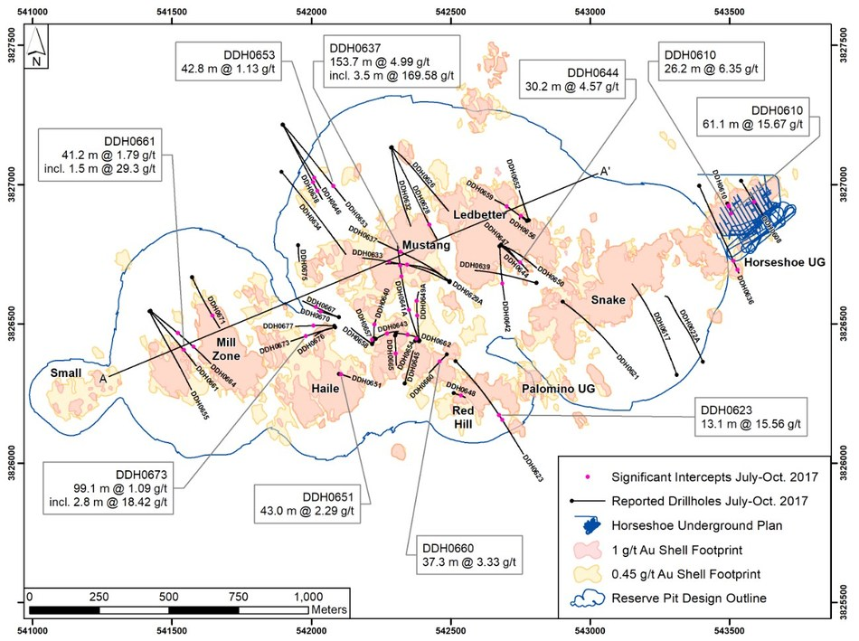 Figure 8 – Plan View of Q3 2017 Haile Gold Mine Drilling (CNW Group/OceanaGold Corporation)