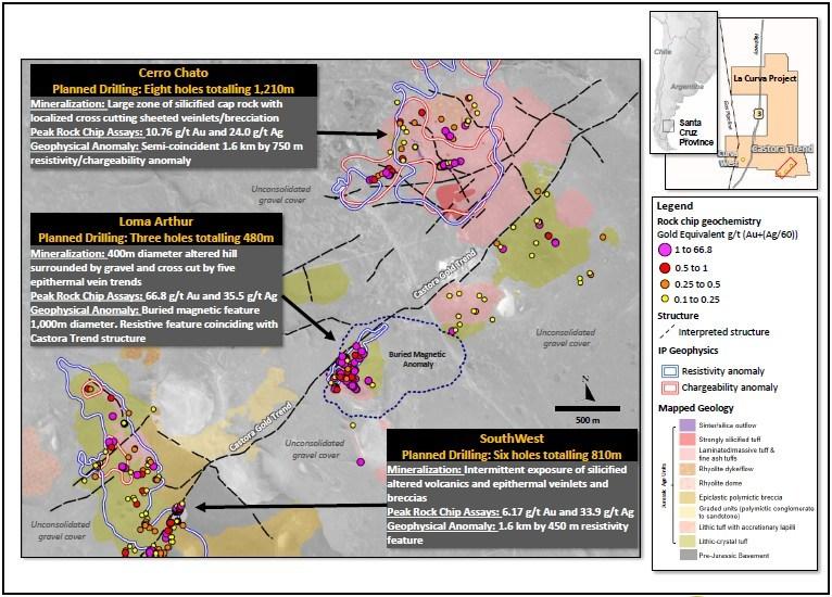 Figure 11 – La Castora Trend Drill Targets within the La Curva Project (CNW Group/OceanaGold Corporation)