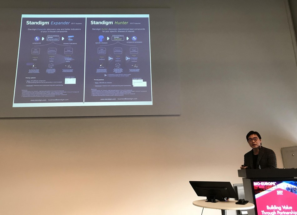 CEO and cofounder of Standigm, Jinhan Kim, is introducing the new AI based drug discovery services, 'Expander' and 'Hunter' at the Bio-Europe 2017 in Berlin, Germany.  Photo credit: Standigm