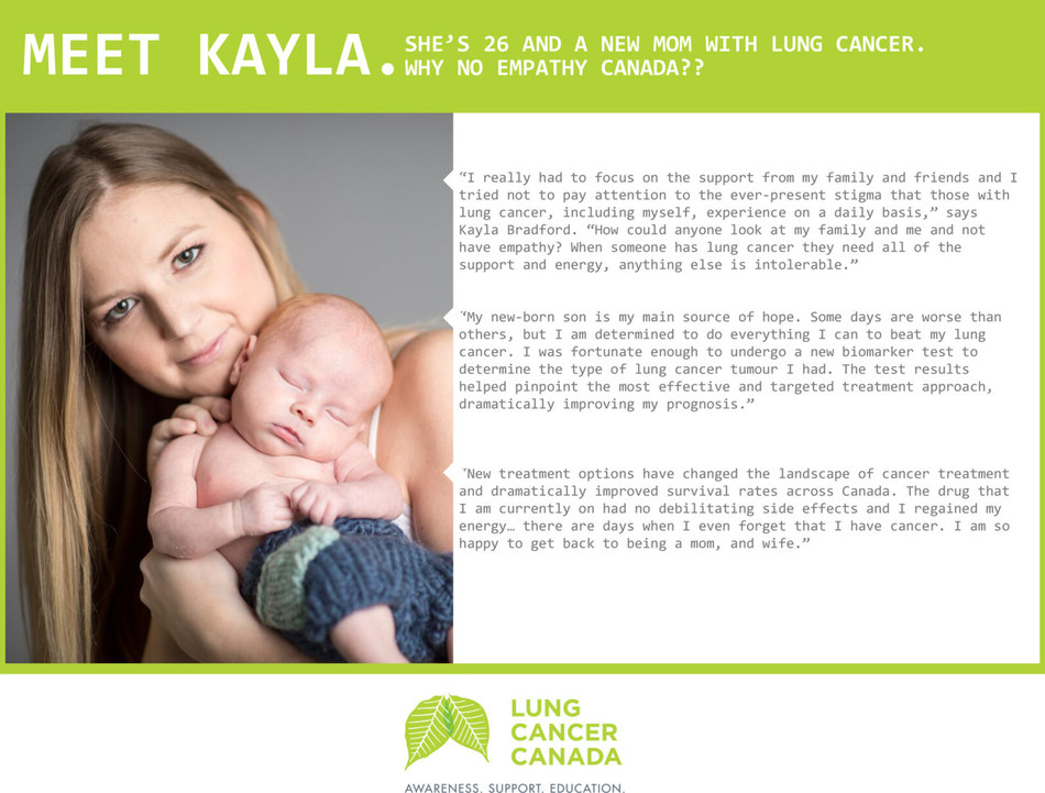 Meet Kayla - she's 26 and a new mom with lung cancer. Why no empathy for her, Canada? (CNW Group/Lung Cancer Canada)