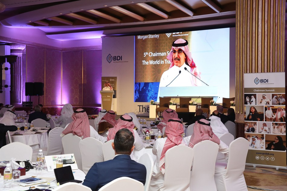 His Excellency Mohammed bin Abdullah Al-Jadaan, Minister of Finance engaging in a Q&A session with the audience during the 5th Annual Chairman Summit of GCC Board Directors (PRNewsfoto/GCC Board Directors Institute)