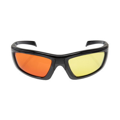 Speed up forensic search time by using the dichoric (2 color) option available with the FoxFury CS™ Eye Glasses. Simply purchase Red, Orange or Yellow glasses, then interchange the lenses with the colors needed.