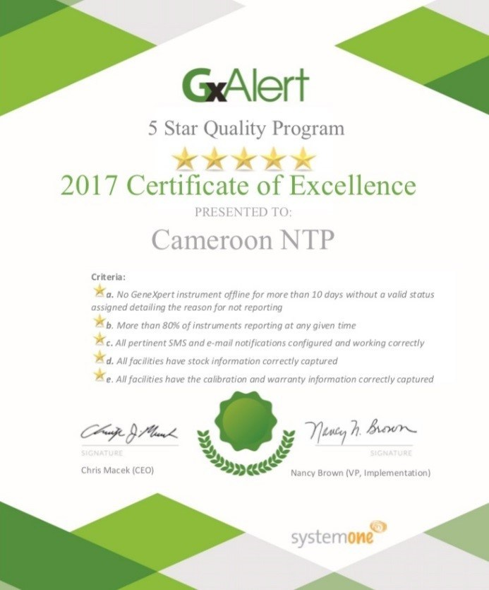 5 Star Quality Program for GxAlert Technical Excellence Certificate