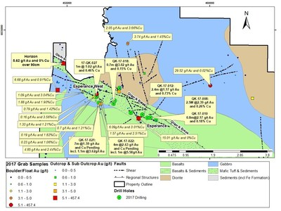 Figure 2 : Secteurs Espérance et Espérance Ouest : localisation des trous de forage et échantillons significatifs en surface provenant du programme de 2017 (Groupe CNW/RNC Minerals)