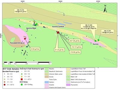 Figure 3 : Secteurs Aurora et Aurora Ouest : localisation des trous de forage et échantillons significatifs en surface en 2017 (Groupe CNW/RNC Minerals)