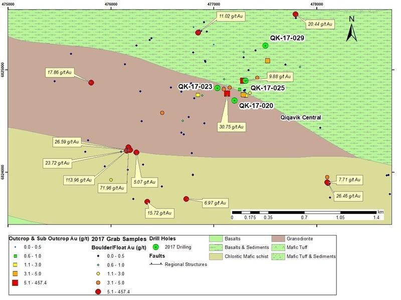Figure 4 : Secteur Centre : localisation des trous de forage et échantillons significatifs en surface en 2017 (Groupe CNW/RNC Minerals)