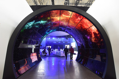 A view of  a virtual aquarium shows how Royal Caribbean blends technology with the environment to create immersive spaces and experiences is seen at Royal Caribbean's Sea Beyond event at Duggal Greenhouse at the Brooklyn Navy Yard on Wednesday Nov. 8, 2017,  in Brooklyn, New York. (Photo by Diane Bondareff/ Invision for Royal Caribbean Cruises Ltd./AP Images)