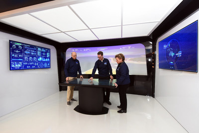 Augmented reality will become a navigation aid on the cruise ship bridge of the future, as shown at Royal Caribbean's Sea Beyond event at Duggal Greenhouse at the Brooklyn Navy Yard on Wednesday Nov. 8, 2017,  in Brooklyn, New York. (Photo by Diane Bondareff/ Invision for Royal Caribbean Cruises Ltd./AP Images)