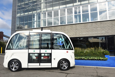 Driverless shuttles bring guests to the Duggal Greenhouse entrance for Royal Caribbean's Sea Beyond event at Duggal Greenhouse at the Brooklyn Navy Yard on Wednesday Nov. 8, 2017,  in Brooklyn, New York. (Photo by Diane Bondareff/ Invision for Royal Caribbean Cruises Ltd./AP Images)