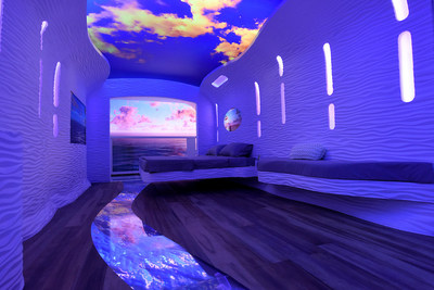 """A concept for future staterooms imagines floors, ceilings and walls that can change to create a """"choose your own environment"""" capability as seen at Royal Caribbean's Sea Beyond event at Duggal Greenhouse at the Brooklyn Navy Yard on Wednesday Nov. 8, 2017, in Brooklyn, New York. (Photo by Diane Bondareff/ Invision for Royal Caribbean Cruises Ltd./AP Images)"""