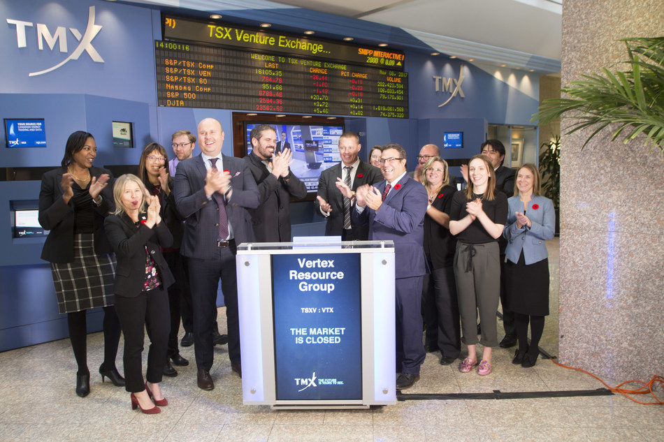 Terry Stephenson, CEO, Vertex Resources Group Ltd. (VTX), joined Kyle Araki, Director, Capital Formation, TSX Venture Exchange, to close the market. Established in 1976, Vertex is a North American provider of environmental and industrial services, including environmental and land consulting, fluid hauling and management, industrial insulation, cleaning and equipment rentals. Vertex is headquartered in Sherwood Park, Alberta and employs approximately 770 employees that service customers in industries such as oil and gas upstream and midstream, utilities, telecommunication, forestry, agriculture and government. Vertex Resource Group Ltd. commenced trading on TSX Venture Exchange on October 18, 2017. (CNW Group/TMX Group Limited)