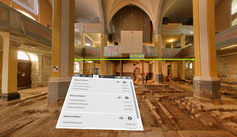 FARO SCENE 7.1 3D scan project of the Herder Church in a Virtual Reality (VR) environment, measurement of a distance in VR view.