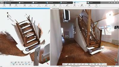 Captura de tela do SCENE 7.1: À esquerda somente os dados digitalizados pelo Freestyle3D. À direita, trabalho registrado pelo Freestyle e o Laser Scanner Focus 3D.