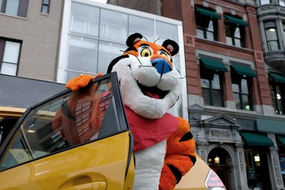 Tony the Tiger® arrives outside of the new Kellogg's NYC Café in Union Square, which opens on December 7, 2017.